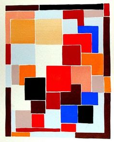 Design in the style of Mondrian, possibly for a rug, from 'Compositions, Colours, Ideas' Sonia Delaunay Date: 1931 Style: Orphism Sonia Delaunay, Robert Delaunay, Art Moderne, Art Graphique, Art Plastique, Op Art, Geometric Shapes, Geometric Patterns, Composition