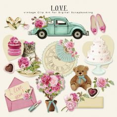 L.O.V.E.  The Kit contains 16 illustrations. Kit for Romantic Events, Valentine's Day, Wedding. Pink, magenta, and turquoise colors.