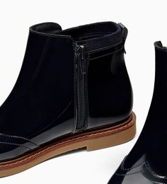 PATENT FINISH ANKLE BOOTS-Zara