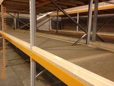 Apex longspan shelving with bespoke shelves, the 45mm raised edge