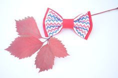 Bow tie Bowtie for man Embroidered chevron design Blue red white bowtie Nautical wedding Fall wedding Gift idea him Groom Groomsmen bow ties by accessories482 on Etsy