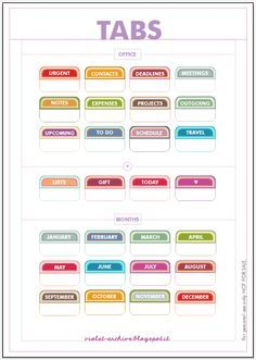Printable tabs: calendar months, schedules, to do's, etc #filofax #planner #organizer   violet-archive: Free Printables - Tabs
