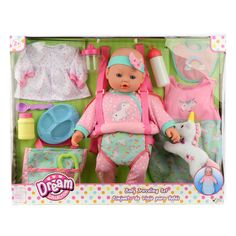 Shop for Dream Collection Baby Doll Travelling Set - Pink. Get free delivery On EVERYTHING* Overstock - Your Online Toys & Hobbies Shop! Baby Alive Doll Clothes, Baby Doll Toys, Baby Alive Dolls, Toddler Toys, Baby Dolls For Toddlers, Baby Doll Set, Cool Toys For Boys, Baby Doll Nursery, Tween Girl Gifts