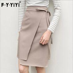FYYIYI Bandage skirt asymmetrical female skirts 2017 high waist midi skirt slim korean fringe skirts summer womens casual fringe
