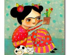 Peinture acrylique originale FRIDA Kahlo avec CACTUS et peinture folk art Kitty Cat par tascha