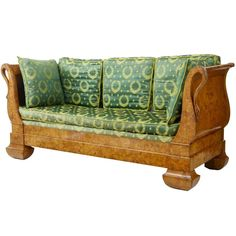 Stunning 19th Century Swedish Carved Birch Daybed Sofa 1