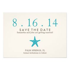 Ocean Blue Starfish Wedding Save the Date: Simple and pretty
