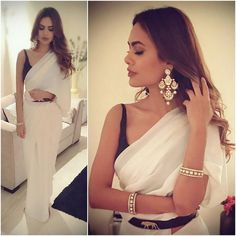 Esha Gupta wearing white Saree with black blouse at Diwali Party 2016 Indian Attire, Indian Ethnic Wear, Indian Dresses, Indian Outfits, Indian Clothes, Diwali Outfits, Modern Saree, Look Short, Party Sarees