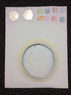 Wasmachine maken: Doorzichtig cirkel uitknippen uit maphoesjes + vierkantjes overtrekken + bordjes uitknippen en grijze wasmachineknoppen: 1-12 en letters
