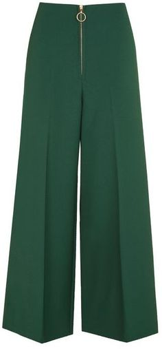 Topshop Zip front crop wide leg trousers