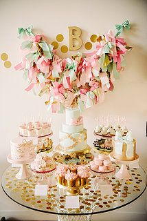 Pink and Gold Bow First Birthday Party Photo 3