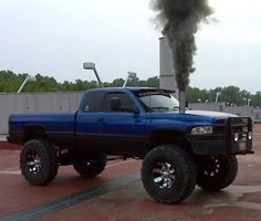 Blue and Black Dodge Cummins Diesel Roll Coal Lifted Brush Guard... yes, please!