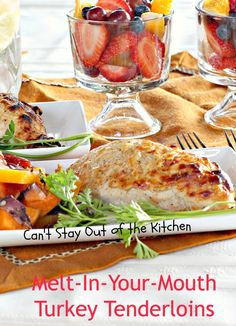 Melt-In-Your-Mouth Turkey Tenderloins - Healthy version using Greek yogurt--great for chicken, too. via Can't Stay Out of the Kitchen Turkey Tenderloin Recipes, Turkey Recipes, Dinner Recipes, Dinner Ideas, Chicken Recipes, Meal Ideas, Turkey Cutlets, Baked Turkey, Turkey Chicken