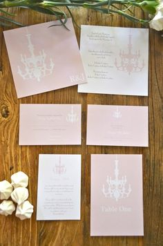 Swinging from the chandeliers wedding invitation suite