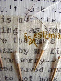 Rough Copy # 8: Hallmark (detail in Progress); white=1 strand hand spun Suffolk, 1 strand Brown Sheep fingering; grey = 1 strand RomneyX, 1 strand bouncy mystery fleece (Sarah Swett)