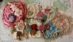 Lot of Antique Silk Ribbon Work Rosettes Lace Trim Edging Doll Clothing