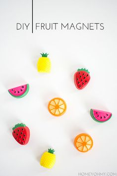 DIY Fruit Magnets. You Need: Fruit ice trays (I used a pineapple ice tray and an assorted fruit ice tray), cement, acrylic paint, paint brush, E6000 adhesive, magnets.