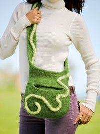 This felted over-the-shoulder bag will store everything you need. From Better Homes and Gardens Find the free pattern here: link