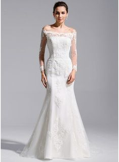 Trumpet/Mermaid Off-the-Shoulder Cathedral Train Tulle Lace Wedding Dress