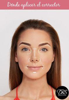 En este pin te mostramos dónde debes aplicar  el corrector facial para que nuestro cutis luzca siempre bien. Debes tener siempre en consideración que si vas a ocupar un corrector de ojeras tiene que ser dos tonos más claro que tu tono de piel. No olvides aplicar entre las cejas, las ojeras, nariz y la comisura de los labios. Con estos sencillos pasos lograrás un maquillaje sin imperfecciones #DBS