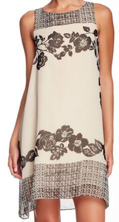 Tan floral dress