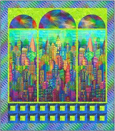 Skyline Fireworks FREE Quilt Pattern - Personalize your own at… Modern Quilt Patterns, Quilt Patterns Free, House Quilts, Baby Quilts, Quilting Projects, Quilting Designs, Fabric Postcards, Landscape Quilts, Panel Quilts