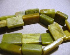 40 cents an inch ~~ $5.75 for 16 inch Strand / 18x13MM   Green Serpentine Jade Beads Gemstones Rectangular