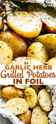 Garlic Herb Grilled Potatoes in Foil - Garlic, thyme & rosemary make these potatoes so delicious, and the grill gives them just the right amount of crispness and a delicious smoky flavor. Foil Potatoes On Grill, Bbq Potatoes, Grilled Foil Potatoes, Best Grilled Potatoes Recipe, Rosemary Garlic Potatoes, Garlic Potatoes Recipe, Grilled Potato Recipes, Funeral Potatoes, Hasselback Potatoes