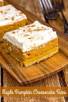 These pumpkin cheesecake bars get their hint of maple flavor from the top layer.