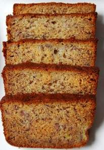 Perfect Martha Stewart Banana Bread. Made with sour cream. So moist and delicious served warm with a rum sauce glaze.