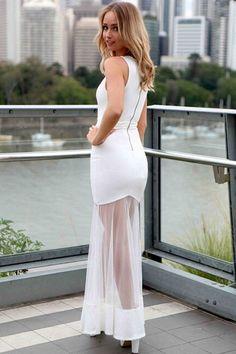 Robes Maxi Blanc Sheer Mesh Spliced Robe – Modebuy.com