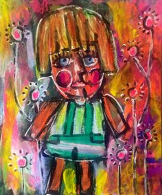 Mixed media whimsical art on paper