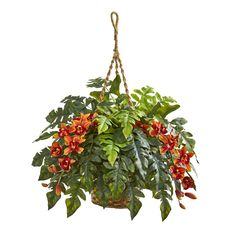 The Nearly Natural Cymbidium Orchid and Fern Artificial Arrangement in Hanging Basket will add cozy botanical charm to your space. This hanging basket. Fake Plants, Artificial Plants, Artificial Hanging Baskets, Potted Plants, Silk Flowers, Colorful Flowers, Yellow Orchid, Purple, Silk Floral Arrangements
