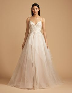 Style 4856 Chapin Allison Webb bridal gown - Cashmere tulle and Italian net bridal  gown with tiered full A-line skirt. French lace V-neck bodice with ... ccac44c45c78