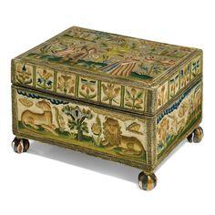 Lot | Sotheby's Charles II embrdrd casket, 2nd halt 17thC. Polychrome silks, variety of stitches. 16.5 cm high (incl feet) 27 cm wide, 21 cm deep