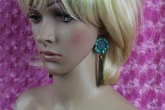 Angular Stone Flower Framed Tassel Fringe Hook Earrings Turquoise #DropDangle
