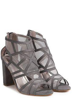 ccca9b76d03f41 Seventyseven Lifestyle Schuh Damen Stiletto Blockabsatz 10cm Wildleder  Optik grau
