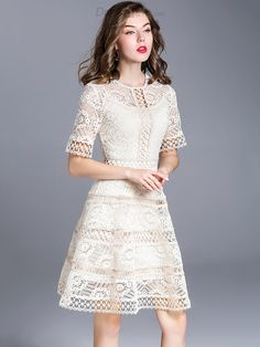 Buy Sweet O-Neck Short Sleeve Embroidery Skater Dress with High Quality and Lovely Service at DressSure.com