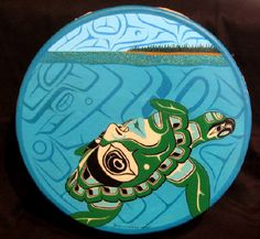 Artist: Richard Shorty, Spiit of Turtle Island - Deerhide Drum Native American Patterns, Native American Symbols, I See Red, Haida Art, Tlingit, Turtle Love, Artwork Display, Coastal Art, Indigenous Art