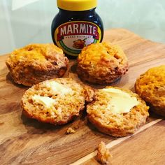 Cheese & Marmite Scones The best way to eat these is to warm them up and add lashings of butter. Serves Prep time: 10 m. Love Food, A Food, Food And Drink, Marmite Recipes, Marmite Ideas, Cooking Time, Cooking Recipes, Baking Recipes Uk, Mama Cooking