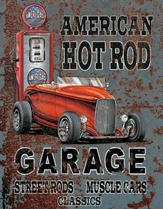Auto Merken : Hot Rod Garage metalen bord