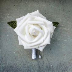 White boutonniere Check out this item in my Etsy shop https://www.etsy.com/listing/473457281/white-rose-and-white-ribbon-boutonnieres