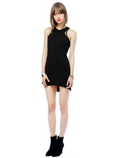 Stretch ponte knit sheath dress with racer-style back and mesh inset detail.