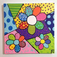 Romero Britto Day Of The Artist - - jpeg Painted Rocks, Hand Painted, Arte Country, Arte Popular, Art Plastique, Rock Art, Doodle Art, Diy Art, Art Lessons