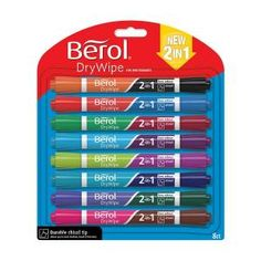 Berol Dual Ended 2 in 1 Drywipe Whiteboard Marker (Assorted Colours) Pack of 8 Marker Pens 1984584