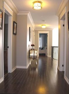 Love the hardwood floors and the wall color (Benjamin Moore's Revere Pewter…