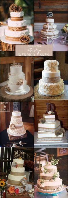 Rustic country burlap wedding cake ideas #weddings #countryweddings #weddingideas