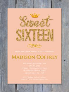 SWEET 16 Invitation Glitter Diva Gold by SweetScarletDesigns
