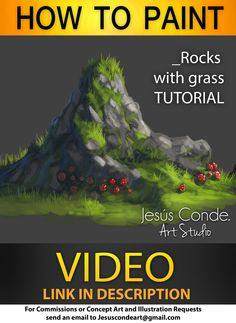 HOW TO PAINT Rocks With Grass by JesusAConde.deviantart.com on @deviantART ★ || CHARACTER DESIGN REFERENCES | キャラクターデザイン  • Find more artworks at https://www.facebook.com/CharacterDesignReferences & http://www.pinterest.com/characterdesigh and learn how to draw: #concept #art #animation #anime #comics || ★
