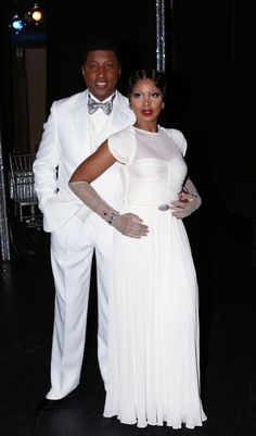 """Fierce in white. Babyface and Toni Braxton catch their breath after their debut performance in the musical """"After Midnight"""" on March 18 in New York"""